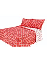 Eileen West Lattice by Melange Home Super Soft Quilt Set, Full/Queen, Coral