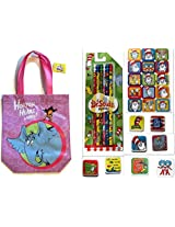 Dr. Seuss Horton Hears a Who Tote Bundle Supply or Party Set with 6 Different #2 Lead Pencils with Erasers on Top, 8 Hand Held Erasers, 1 Sticker Sheet and Matching Tote Bag