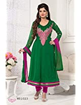 WhatshopGreen Georgette With Emroidered Long Anarkali suit