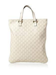 Gucci Women's Leather Logo Tote, Cream