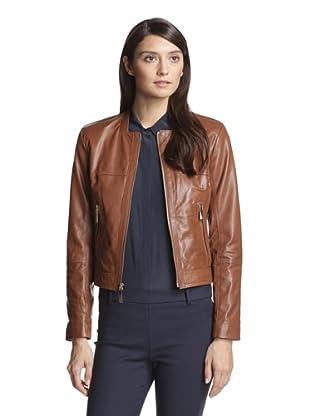 Vince Camuto Women's Leather Jacket (Cognac)