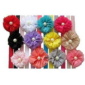 Qs 12 Pieces Baby's Headbands Girl's Chiffon Headband Hair Flower (12 Pack)