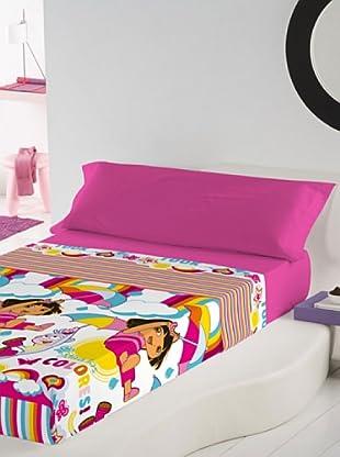 Euromoda Licencias Juego de Sábanas Dora Rainbow (Rosa / Fucsia)