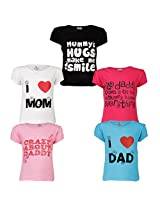 Goodway Junior Girls 5 Pack Mom & Dad Theme Combo Pack of 5 T-Shirts - 2-3 Years