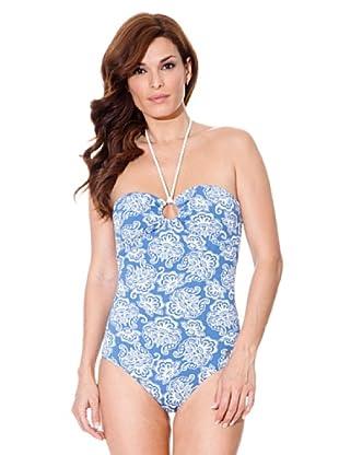 Cortefiel Badeanzug Print (Blau)