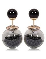 Celebrities Inspired Black Beads Filled Double Bubbles Earrings By Via Mazzini
