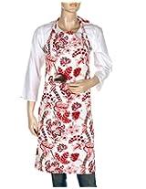 Elegant Hand Block Printed Cotton Apron White Floral By Rajrang