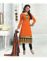 Riti Riwaz Unstiched Orange Salwar Kameez MGD9006