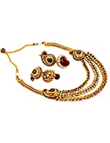 Megh Craft Women Bollywood Style One Gram Gold Necklace Set - Paisley Shape Gold Plated jewellery