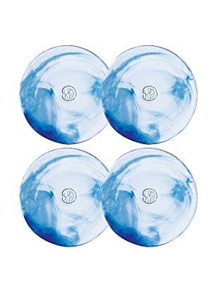 Orrefors Set of 4 Mine Dessert Plates (Blue)