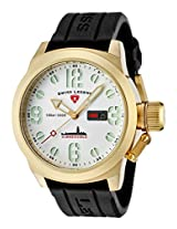 Men'S Submersible White Dial Gold Ion Plated Ss Case Black Silicone (10543-Yg-02)