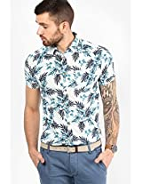 Blue Printed Slim Fit Casual Shirt Jack & Jones
