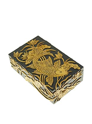 The Niger Bend Rectangular Soapstone Box with Koi Design, Black
