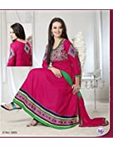 Pink Coloured Embroidery Anarkali Suit
