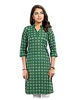 Almas Women's Cotton Regular Fit Kurti (ALM-KUR-100100_S, Green, Small)