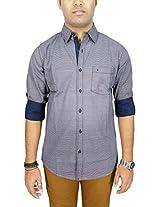 AA' Southbay Men's Navy Printed 100% Cotton Long Sleeve Casual Shirt