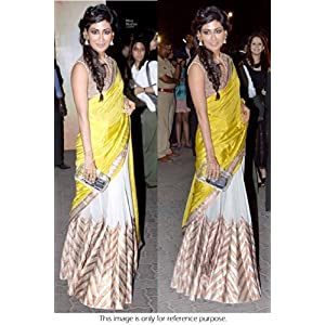 Bollywood Replica Chitrangada Singh Paper Silk Saree In Yellow and Beige Colour NC478