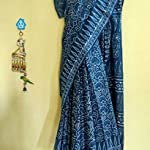 Indigo dabu Block print mul Cotton Saree With blouse piece