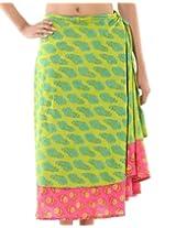 Rajrang Indian Printed Cotton Sari Two Layer Long Wrap Around Skirt