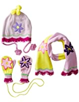 Kidorable Little Girls' Lotus Hat Scarf Mittens Set, Yellow, Small
