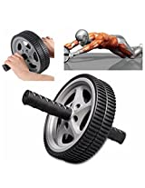 Abdominal AB Wheel Roller Gym Slim Arm Waist Fitness Exerciser (Color: Black with gray)