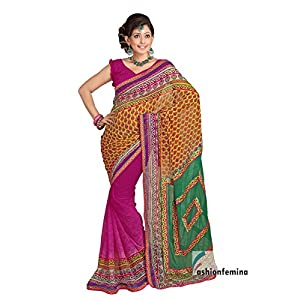 Ethnic Pink and Yellow color Bandhej Print Saree