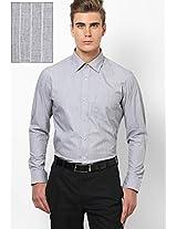 Grey Striped Regular Fit Formal Shirt Arrow