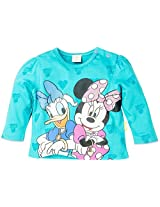 Infant Girls Full Sleeve T-Shirt With Minnie And Daisy Duck Print - Turquoise (2-3 Years)