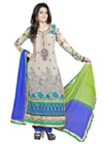 Lookslady Embroidered Beige Georgette Semi Stitched Salwar Suit
