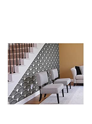 Astek Wall Coverings Set of 2 Scalloped Dots Wall Tiles