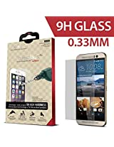 iCarez for HTC One M9 [0.33 Tempered Glass] Highest Quality Premium Anti-Scratch Bubble-free Reduce Fingerprint Screen Protector Easy Install Product with Lifetime Replacement Warranty [1-Pack,0.33mm 2.5D Rounded Edges] - Retail Packaging 2015