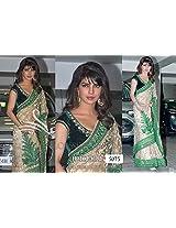 Bollywood designer net with silky inner priyanka chopra green beige color saree velvet blouse fabric sari party wear saree