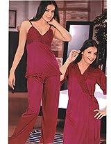 Indiatrendzs Women's Sexy Hot Nighty Hot Red 3pc Set Bedroom Sleepwear Freesize