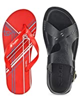 Gas Jungle Black Men Sandals with Lotto Slippers