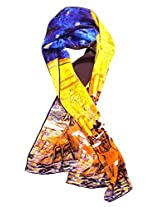 "100% Luxurious Charmeuse Silk Scarf or Long Shawl with Van Gogh's ""Cafe Terrace at Night"" Print"