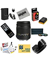 Sigma Super Zoom 18-250mm f/3.5-6.3 DC Macro OS HSM (Optical Stabilizer) 883-101 Lens With 3 Year Extended Lens Warranty For the Canon 5D Mark II Mark III 6D 7D 60D DSLR Cameras Includes 3 Piece 62mm Pro Filter Kit (UV CPL FLD) + Replacement Battery Pack for the Canon LP-E6 2600MAH + 1 Hour AC/DC Battery Charger + Remote Control + Deluxe Lens Cleaning Kit + LCD Screen Protectors + Mini Tripod +