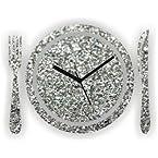 Zeeshaan Glitter Kitchen Wall Clock Silver