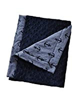 "Cozy Wozy Luxurious Anchor Print Chambray Baby Blanket with Minky, Navy Blue, 32"" x 37"""