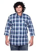 Ciroco Blue Plus Size Checks Shirt for Men_C_010_BLUE_5XL