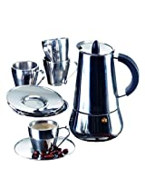 IMUSA B120-22069SET Stainless Steel Espresso Set with Stovetop Coffeemaker, Cups and Saucers, Silver, 9-Piece