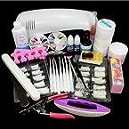 24 Pcs Combo Set Pro Nail Art Uv Gel Kit Uv Lamp Brush Buffer Tool Nail Tips Glue Acrylic Set #12