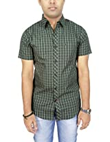 AA' Southbay Men's Olive Checks 100% Premium Cotton Half Sleeve Business Casual Shirt