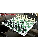 StonKraft 17'' x 17'' Tournament Vinyl Foldable Chess Set With Plastic Staunton Pieces