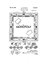 1935 Darrow 2026082 Monopoly Patent Reproduction Print Including Game Details And Text