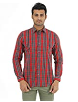 London Fog Men's Casual Shirt (8907174017587_Red_Small)