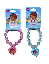 WeGlow International Doc Mcstuffins Assorted Faceted Beaded Bracelet with Plastic Charm (Set of 3)