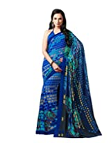 Blue Color Georgette Printed Saree with Blouse 7023