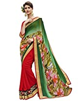 Indian Women Georgette Green And Red Half & Half Saree