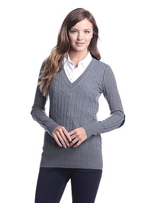 Autumn Cashmere Women's Cable V-Neck Sweater (Shark/Black)