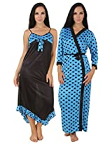 Fasense Exclusive Women Satin Nightwear Sleepwear 2 PCs Set of Nighty & Wrap Gown, DP155 (Medium, Turquoise & Black)